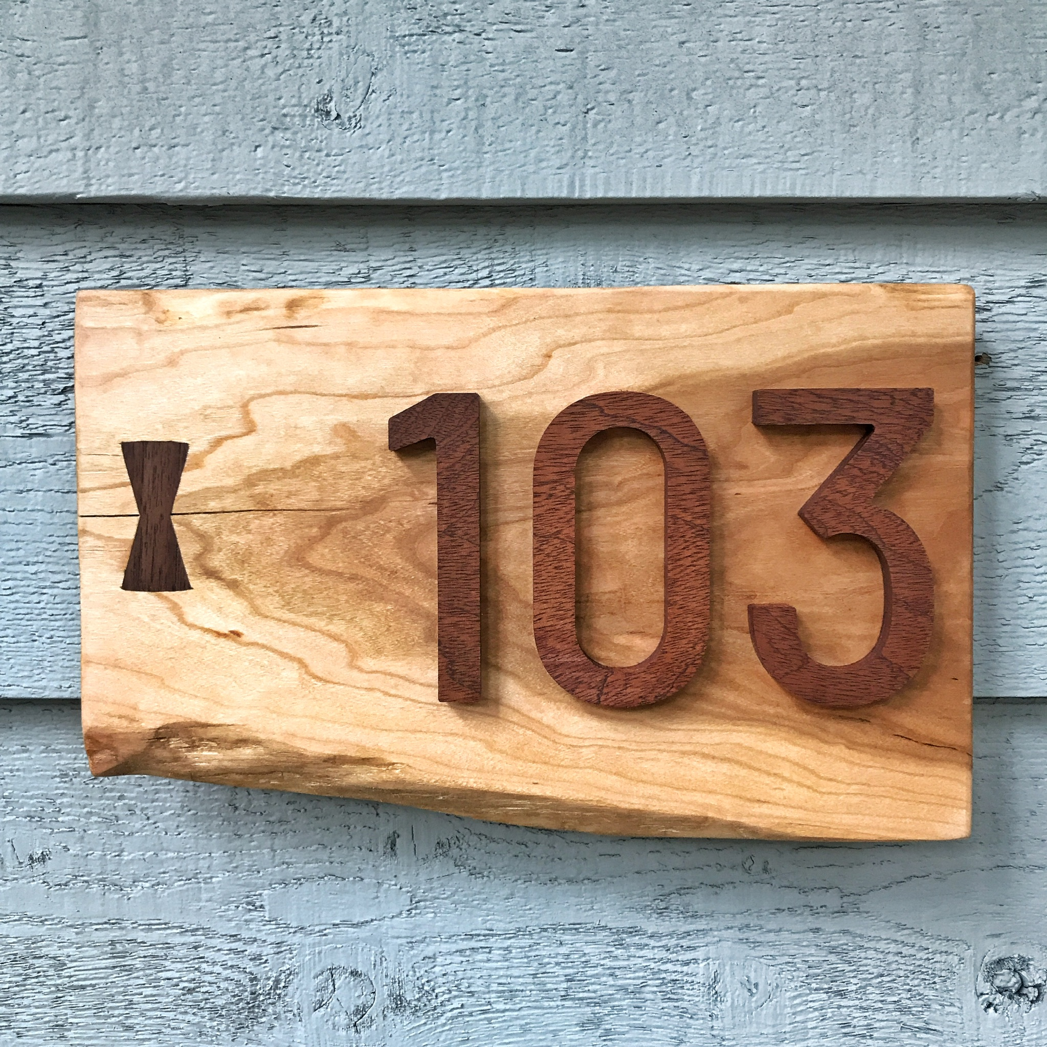 Walnut Bow-tie House Sign