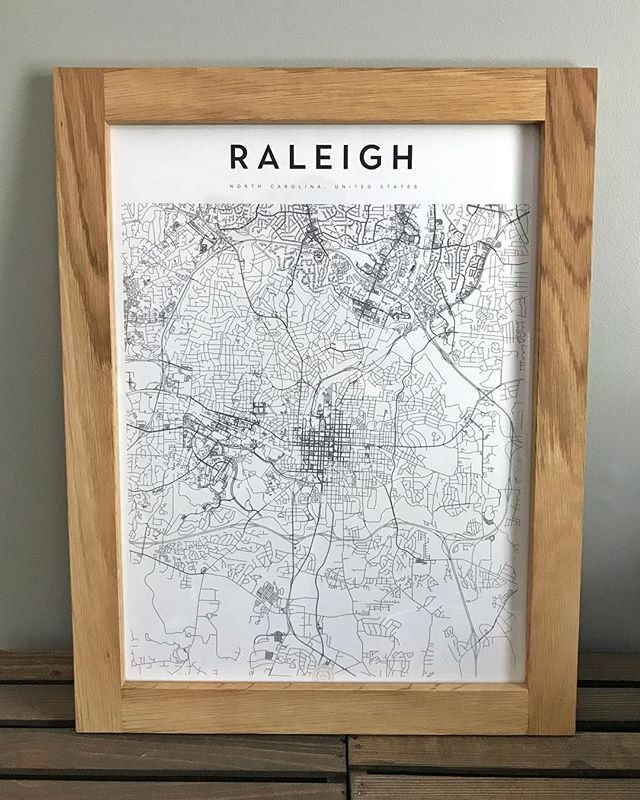 Simple white oak half-lap frame finished with @rubiomonocoatusa to hold this wonderfully designed map from @maperyprints - Raleigh folks, can you spot your street?