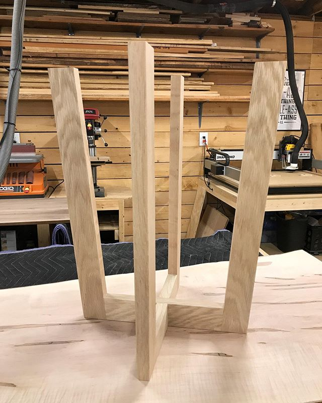 White oak side table base out of the clamps and ready for a top - trying to decide on matching with white oak or contrasting with walnut. Can't go wrong with either.