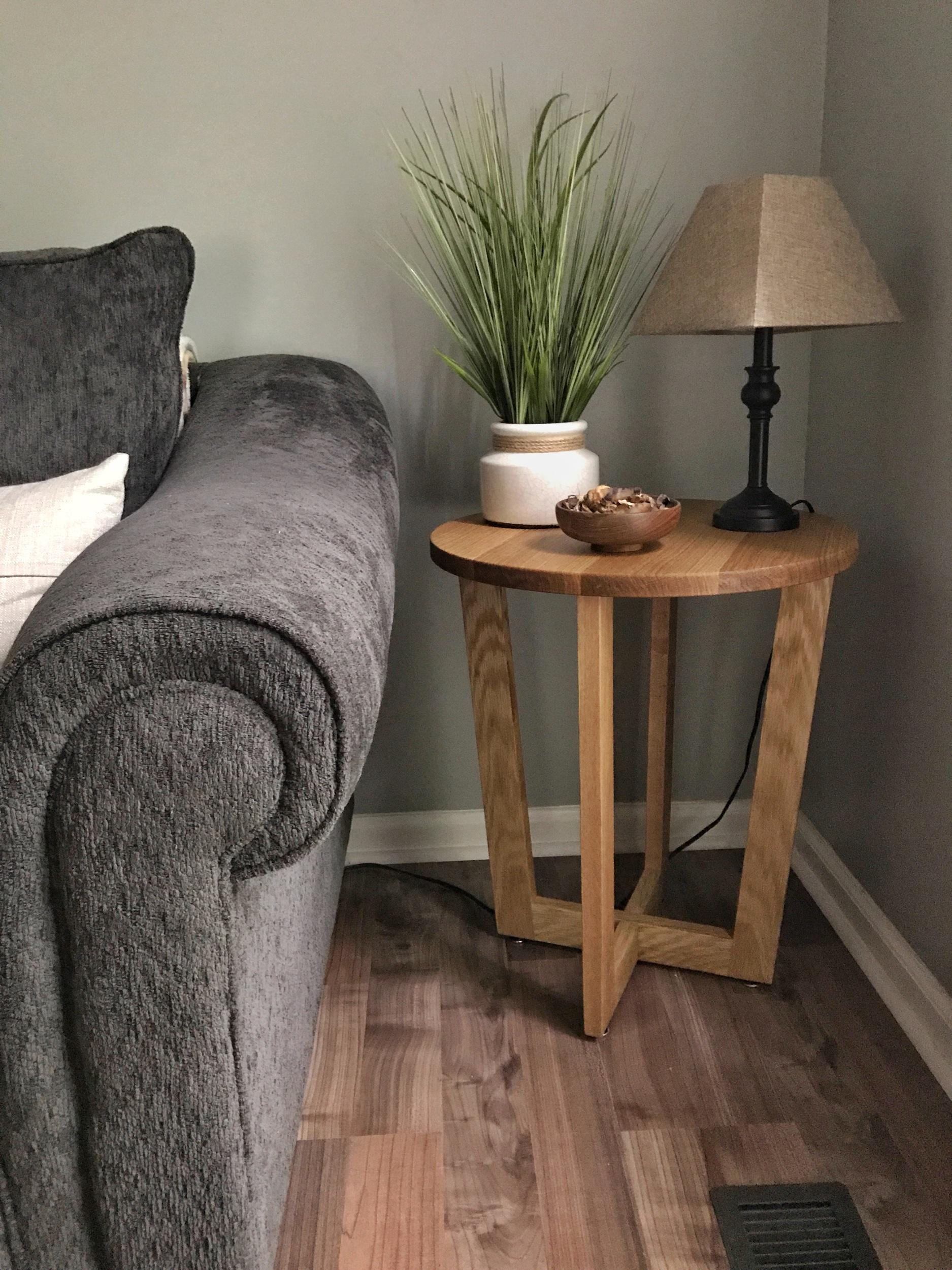 Modern White Oak Side Table