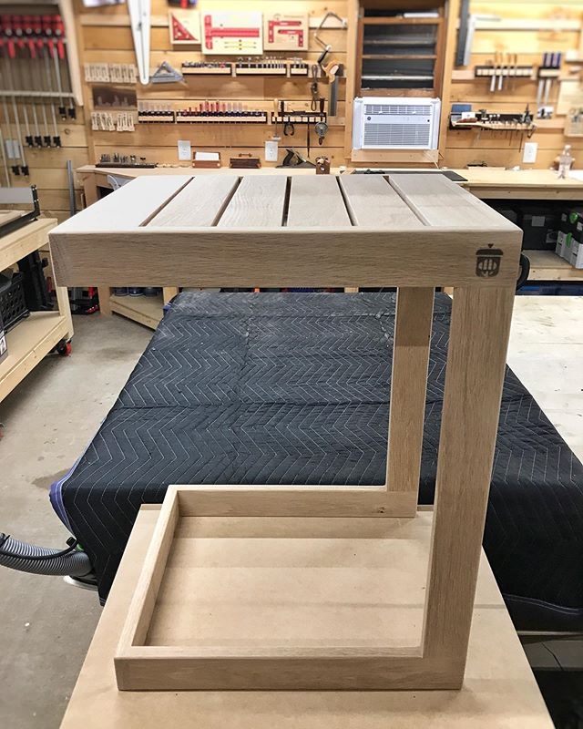 I'm a big fan of quick builds like this outdoor side table - it's always satisfying to go from design to tangible product in just a few days (or just a few hours if I was doing this full time). Now to decide on the finish 🤔 - #whiteoak #outdoorfurniture #moderndesigns