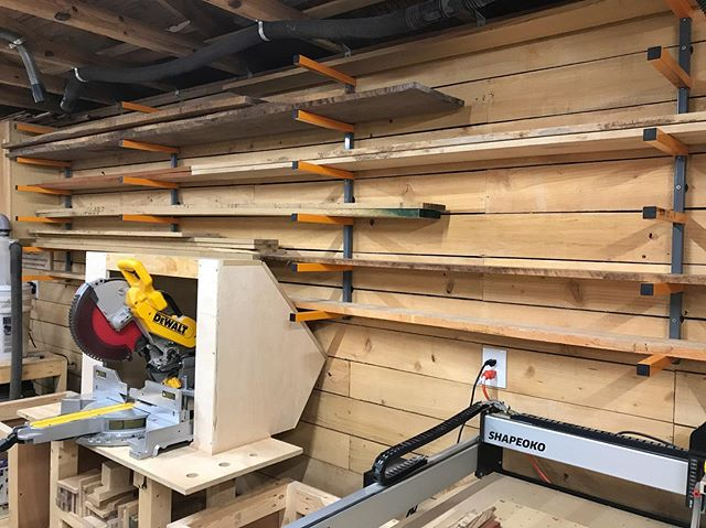 One last (long overdue) shop upgrade before I get back to building - replacing the lumber rack above my miter saw. Took about 45min to level and hang these @bora_tool racks and it was time well spent. Now I just need to take a trip to the lumber yard and re-up on my stock. #woodstorage #woodshop #lumberrack