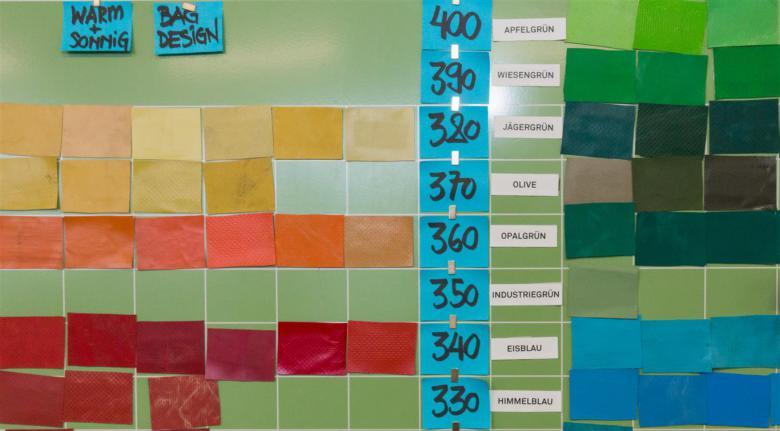 Gama de colores dentro del taller de Freitag © Présence Suisse