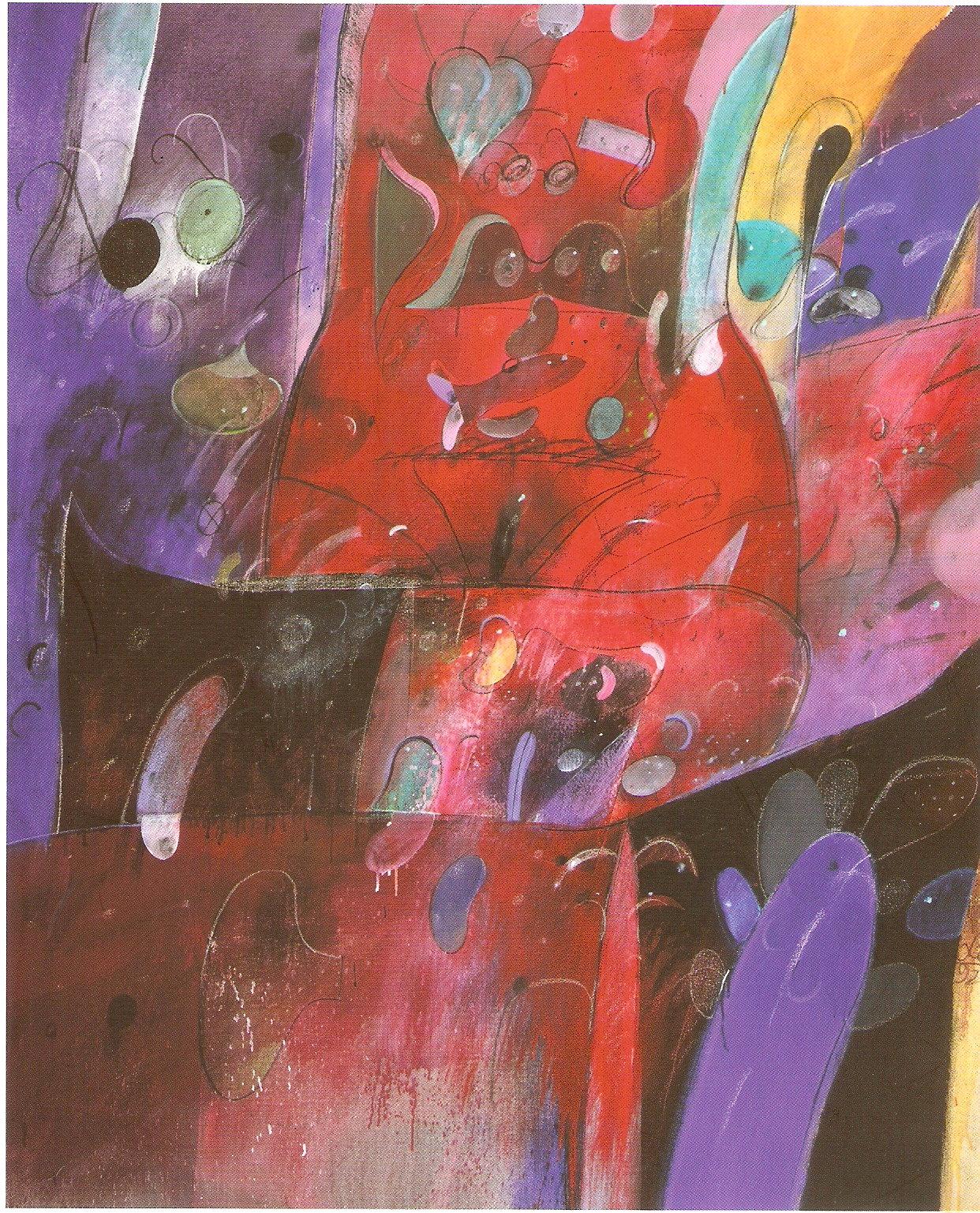 Cuerpo con Cosas - Acrílico y tela - 170 x 140 cm - 1993  Foto U. Stump, cortesía R. von Gunten