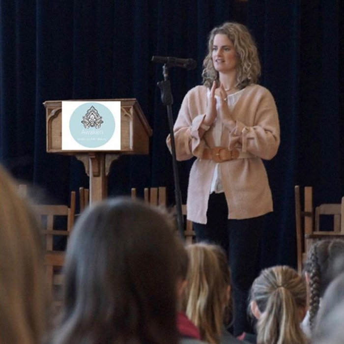 Vicky Murphy from Awaken Meditation & Mindfulness doing running a Mindfulness in Schools workshop at Otago Girls High School in 2018.