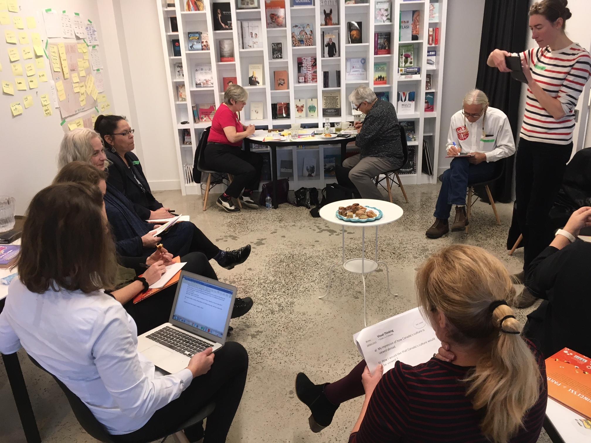 Francfort2020 - Design et animation d'une journée de réflexion sur l'image que devrait avoir le Canada à la foire de Francfort en 2020. Huit auteurs et éditeurs des quatre coin du Canada, francophones, anglophones, autochtones, immigrants ont été réunis pour cette lourde tâche de trouver nos communs. Les résultats étaient émouvants. Article FMB2020. Une collaboration avec Hanneke Ronken.#design #evenement #collaboratif #strategie