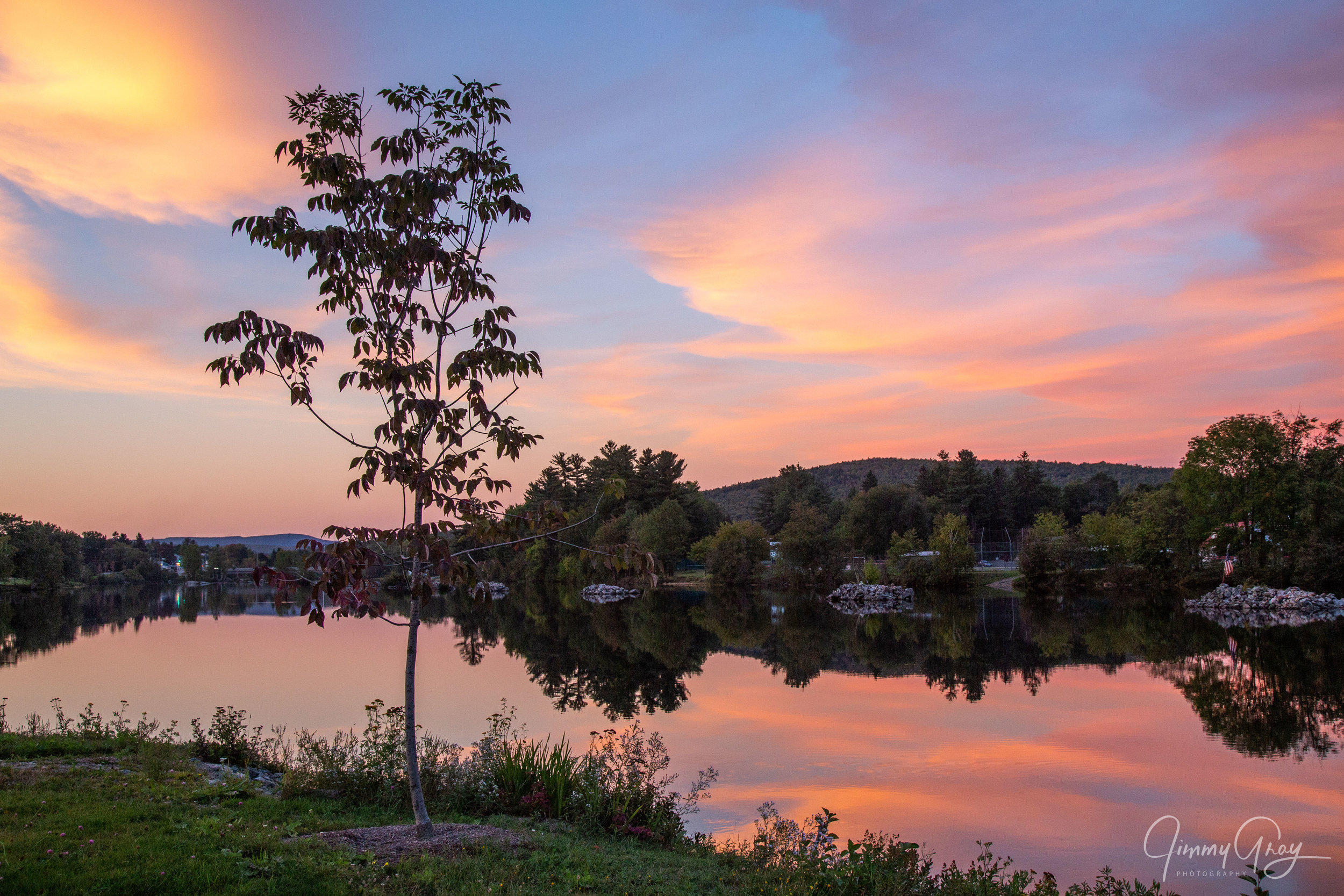 Sunset Over The Androscoggin In Berlin, NH