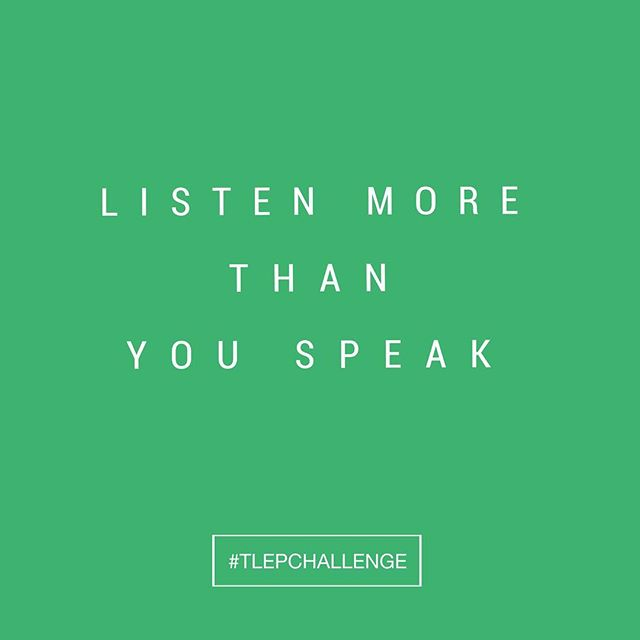 "When I'm behind the camera, I'm really good at listening, but when I'm with my friends and family, sometimes I do a lot more talking than listening. 🙊 So, I'm joining you on this #tlepchallenge: Next time you're having a conversation with someone, be intent on hearing what they have to say. It might be tempting to interrupt or turn the conversation to your own experiences and advice, but do your best to just listen until they are completely finished sharing. Sometimes, that's all they're really asking for!⠀⠀⠀⠀ ⠀⠀⠀⠀ ""Most people do not listen with the intent to understand; they listen with the intent to reply."" - Stephen R. Covey"