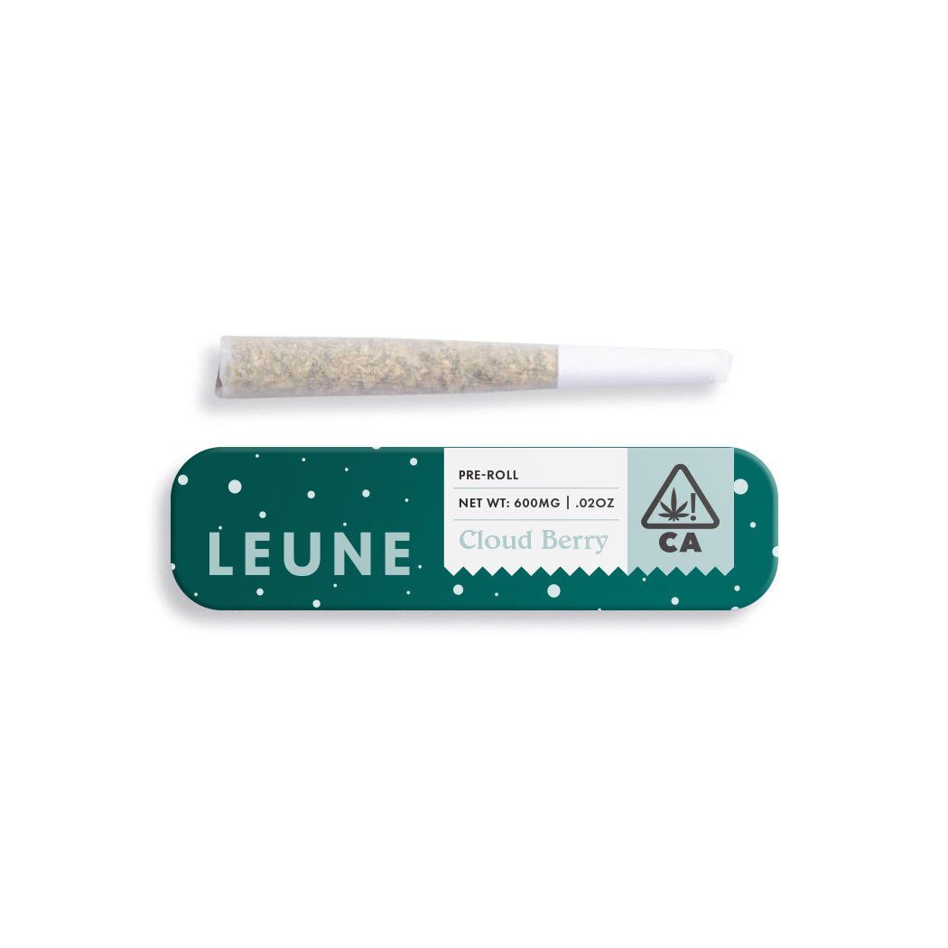 CLOUD BERRY - $7Individually rolled with love and nothing but clean, honestly grown California flower. L E U N E delivers a slightly tart, massively berry preroll that's bound to become your new favorite way to experience a well-balanced high. This hybrid brings the very best of happy meets chill. Contains a single preroll with .6g of flower