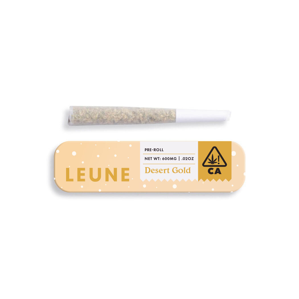 DESERT GOLD - $7Individually rolled with love and nothing but clean, honestly grown California flower. Tropical flavors meet luscious notes of peachy in this preroll from L E U N E. Ease your tension with this hybrid that's sure to bring you a body high that transcends you right to the beach. Contains a single preroll with .6g of flower