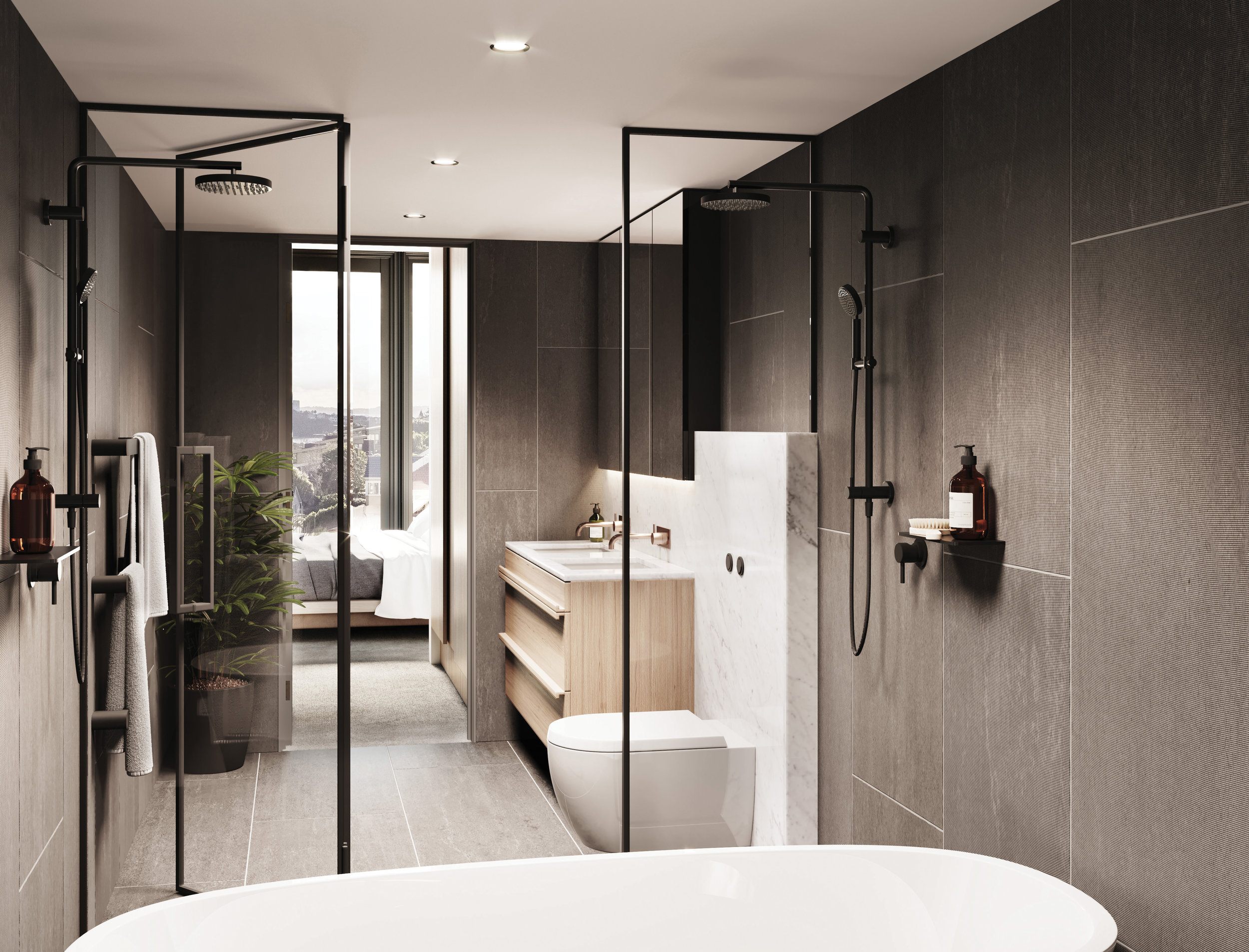 The ensuites in the upper residences are accessed through a walk-in wardrobe, and include a wall-mounted toilet, mirror cabinet and custom double vanity on a feature stone plinth. This plinth extends into the wet area which contains two showers and a luxurious freestanding bath.