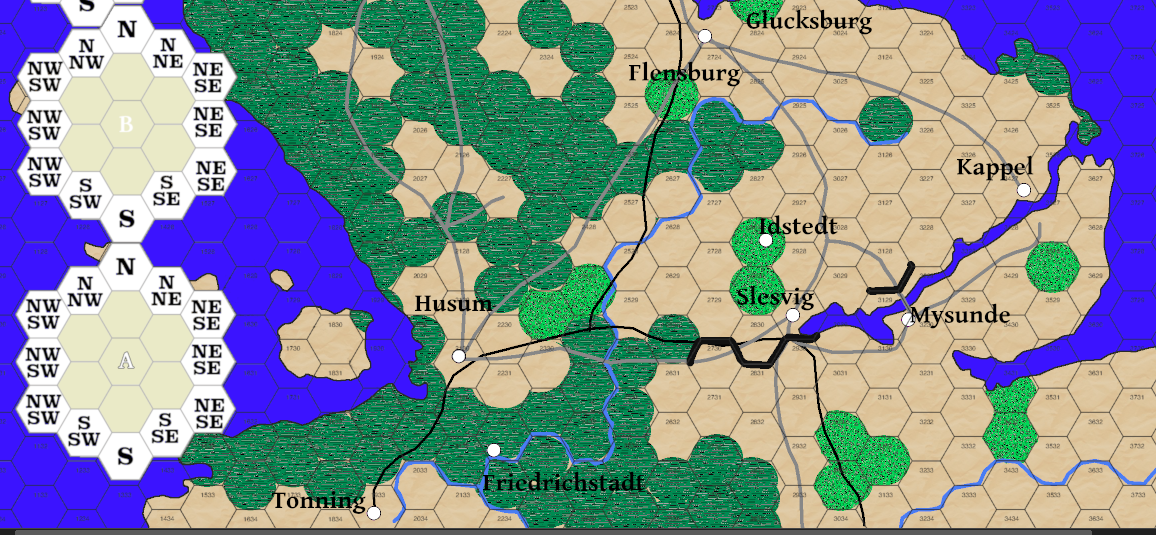 Part of playtest map, battle maps to the left, marked with a counter on the map.