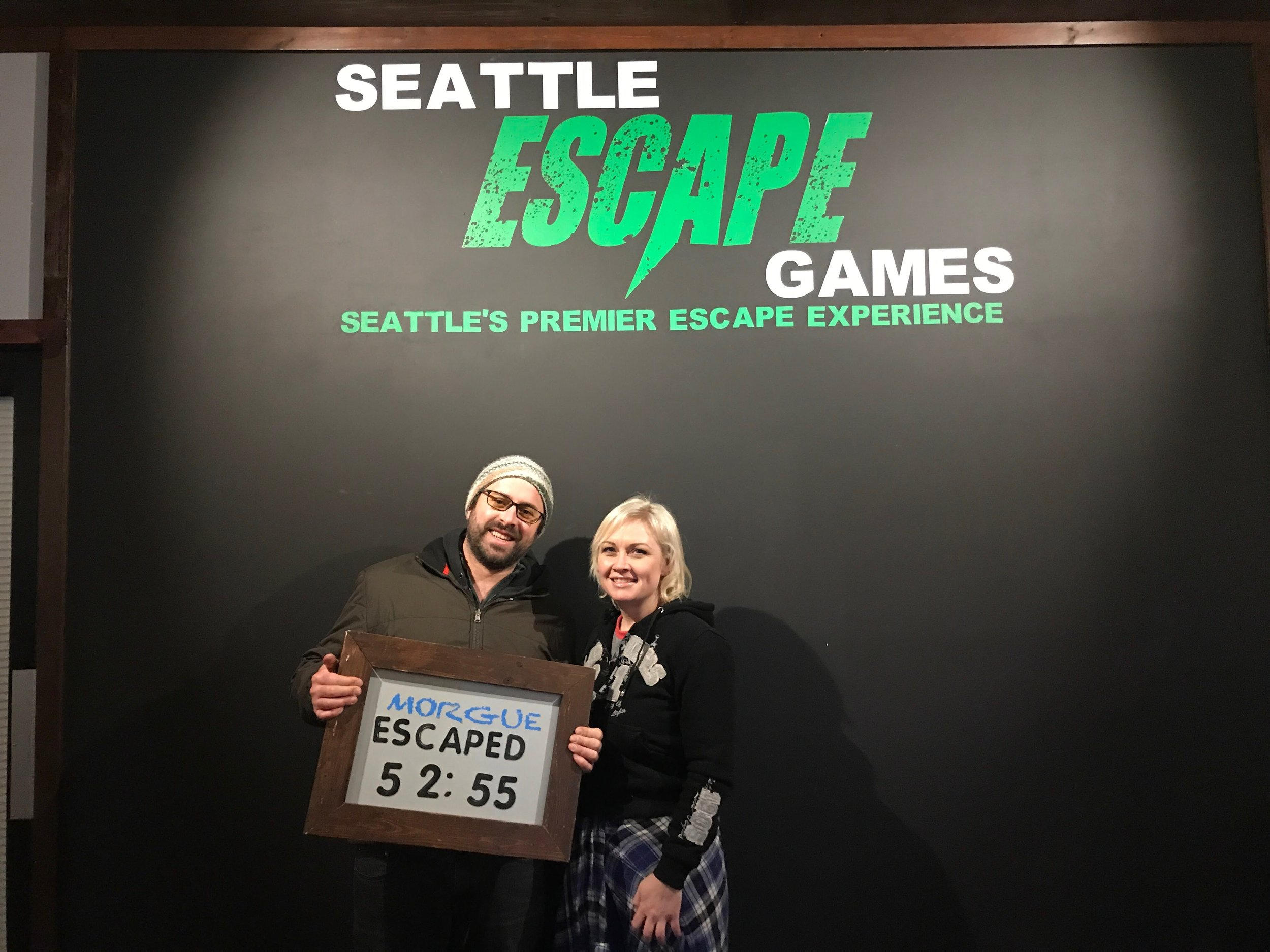 "- Evan & Elizabeth after finishing ""Escape from Georgetown Morgue"" in Seattle."