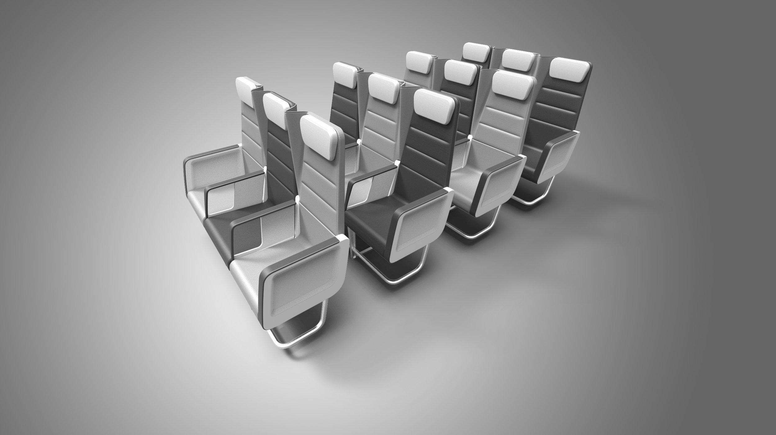 Best of Both Worlds - Checkerboard enables operators to address the needs of two very different segments without compromising seat density or customer appeal. In its economy configuration, Checkerboard functions as a typical coach class seat, with a seat-back mounted table, high back literature pocket that maximizes legroom, and a high pivot recline that reduces intrusion into the living space of the passenger behind.