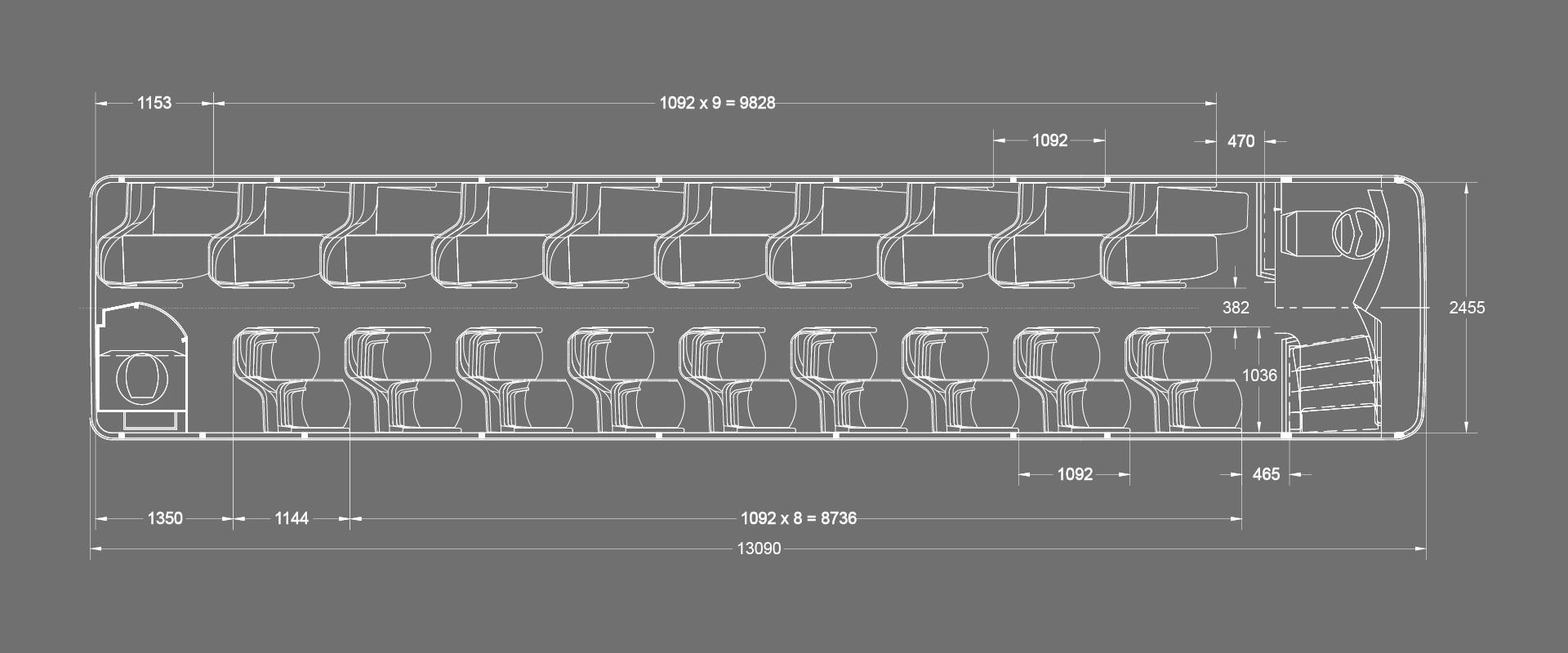 Layout 13.8m Coach with Lavatory