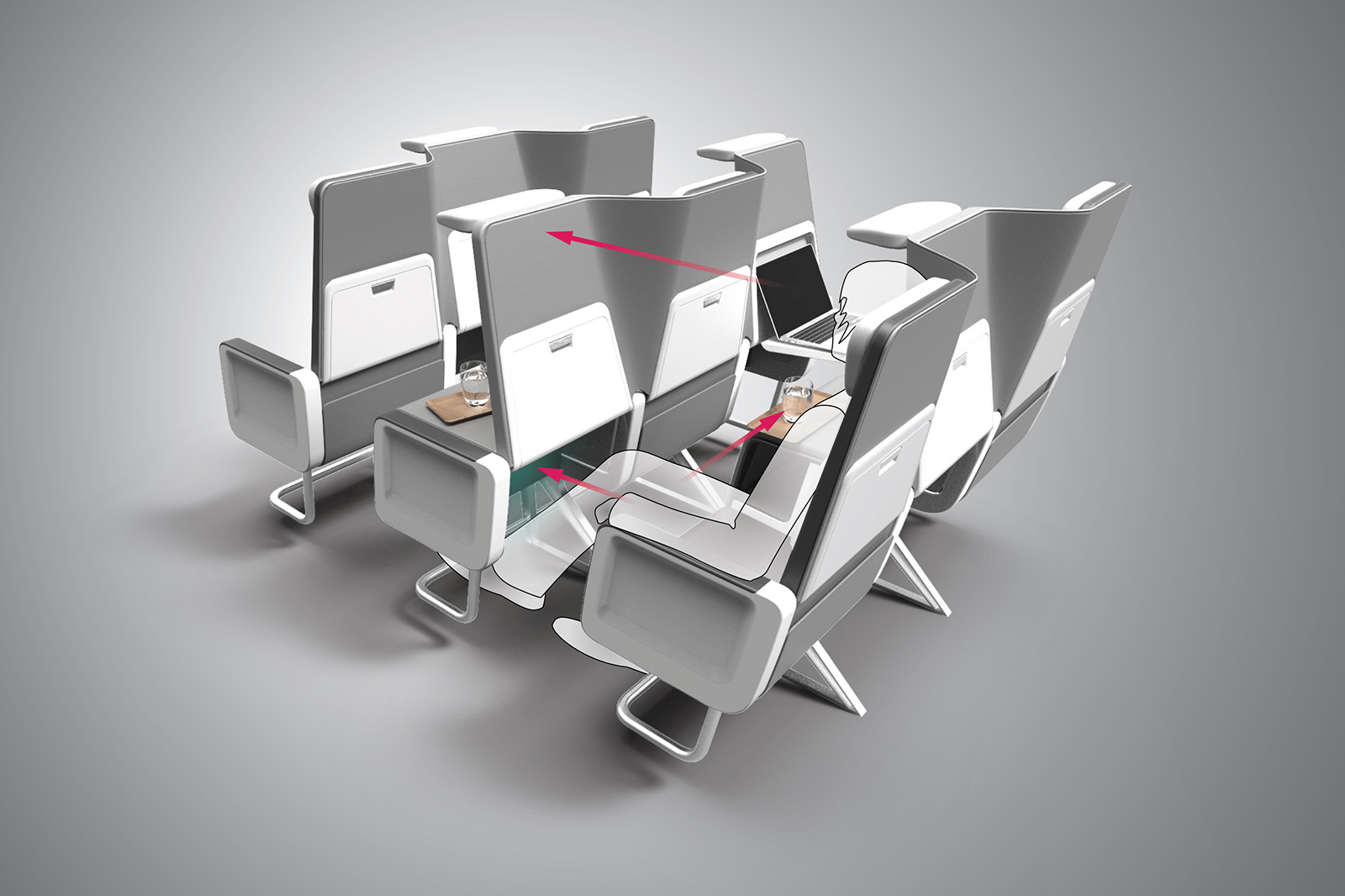 Stretch Out - Unlike typical Euro-style convertible business class seats, Checkerboard provides much greater personal space to the Business class passengers. The folded seats create up to 8 inches of additional legroom, while the re-positioned seat-back in front adds to the perception of increased space. This creates a truly differentiated experience from the economy class seat.