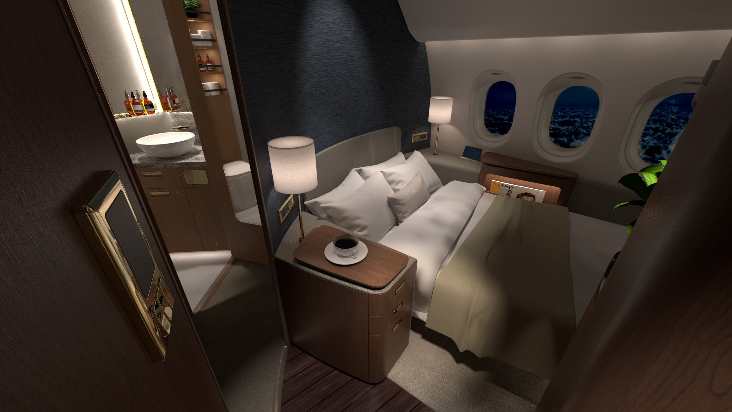 Ultimate Seclusion - The addition of a private lavatory access creates the ultimate luxury in spaciousness and privacy, enabling airlines to compete to a certain degree with private jets.