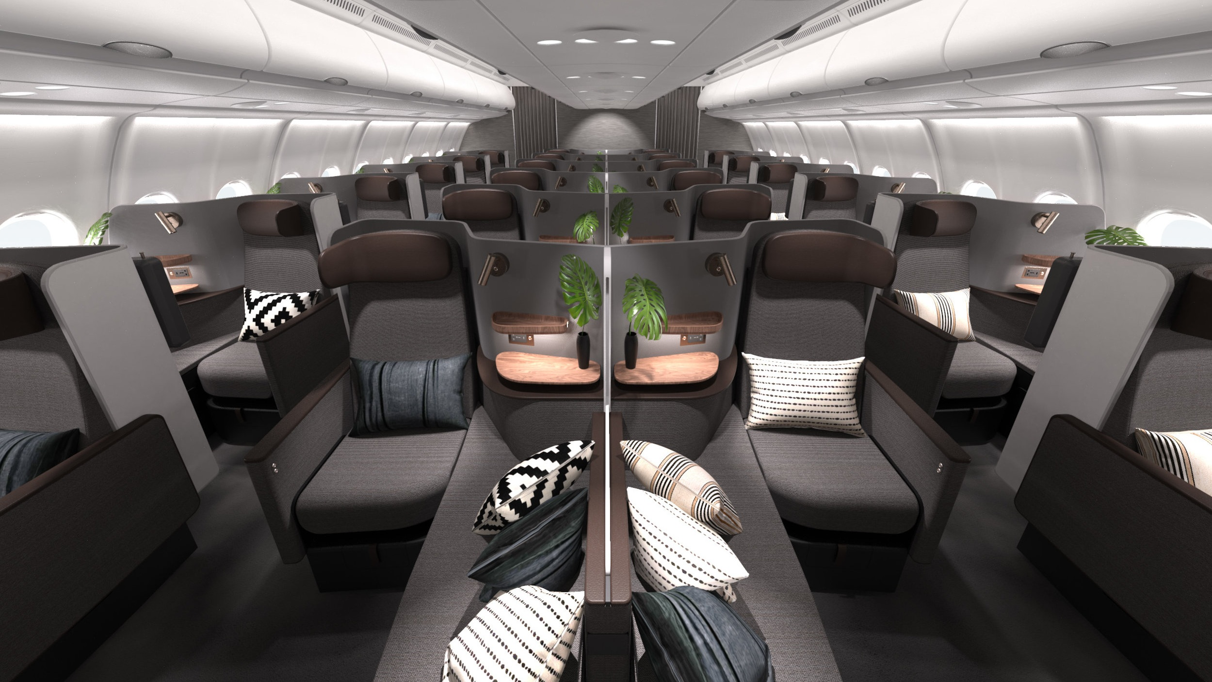 Butterfly - Our award-winning and globally-patented design allows instant transformation between premium economy seats and a business class flat-bed suite.
