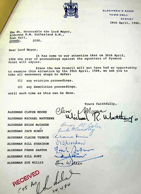 Letter to Lord Mayor from City of Sydney Councillors, 1984, seeking deferral of action against squatters. City of Sydney Archives