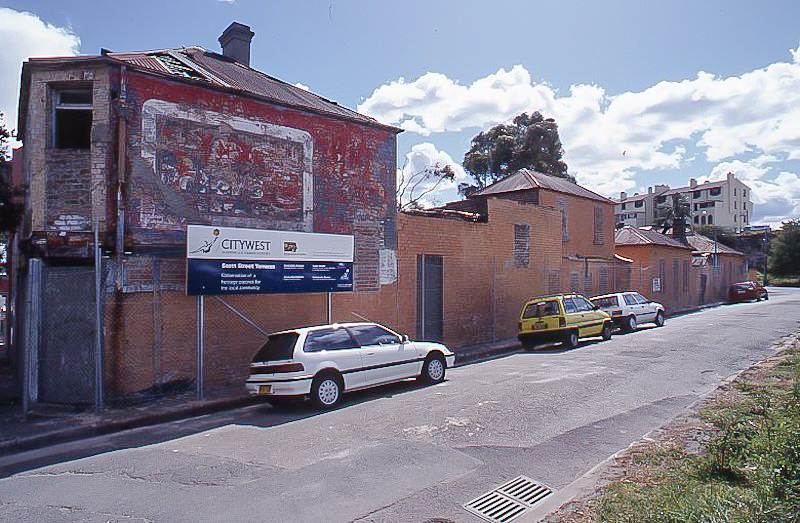 Scott St terraces with old police building on the corner 2000, Sydney Harbour Foreshore Authority
