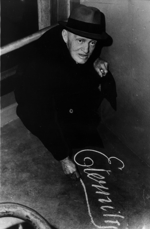 Arthur Stace writing his message, Eternity, Sydney, 3 July 1963 by Trevor Dallen. National Library of Australia