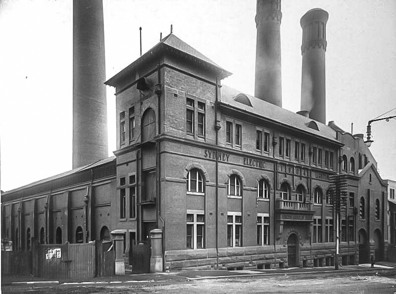 Pyrmont Power House. Sydney Electric Light Co. power house building with 3 smoke stacks August 1919. Pyrmont Street – City of Sydney Archives