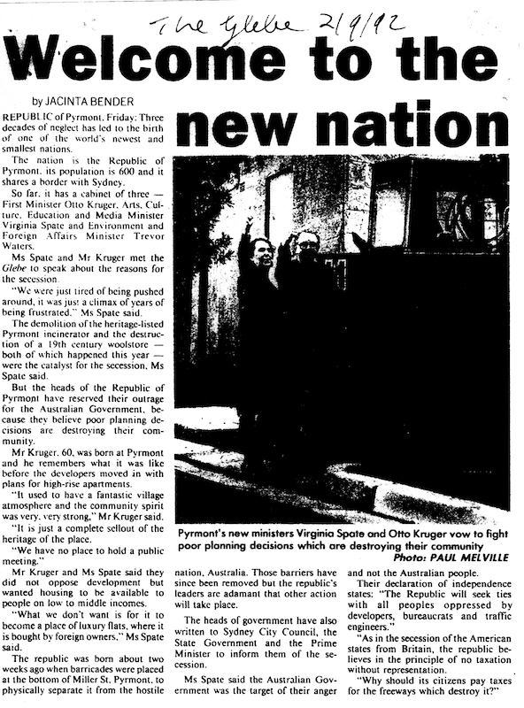 Article about the Republic in The Glebe – 2 September 1992