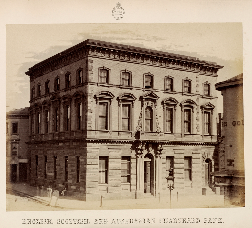 English, Scottish and Australian Chartered Bank head office. Album by W. Blackwood of Sydney Banks, 1859. State Library of New South Wales, Call No. PXE 931