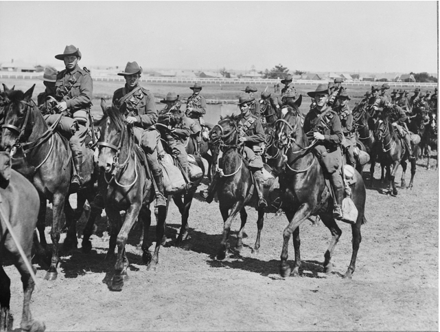 1st Australian Light Horse Brigade training at Kensington, Australian War Memorial.