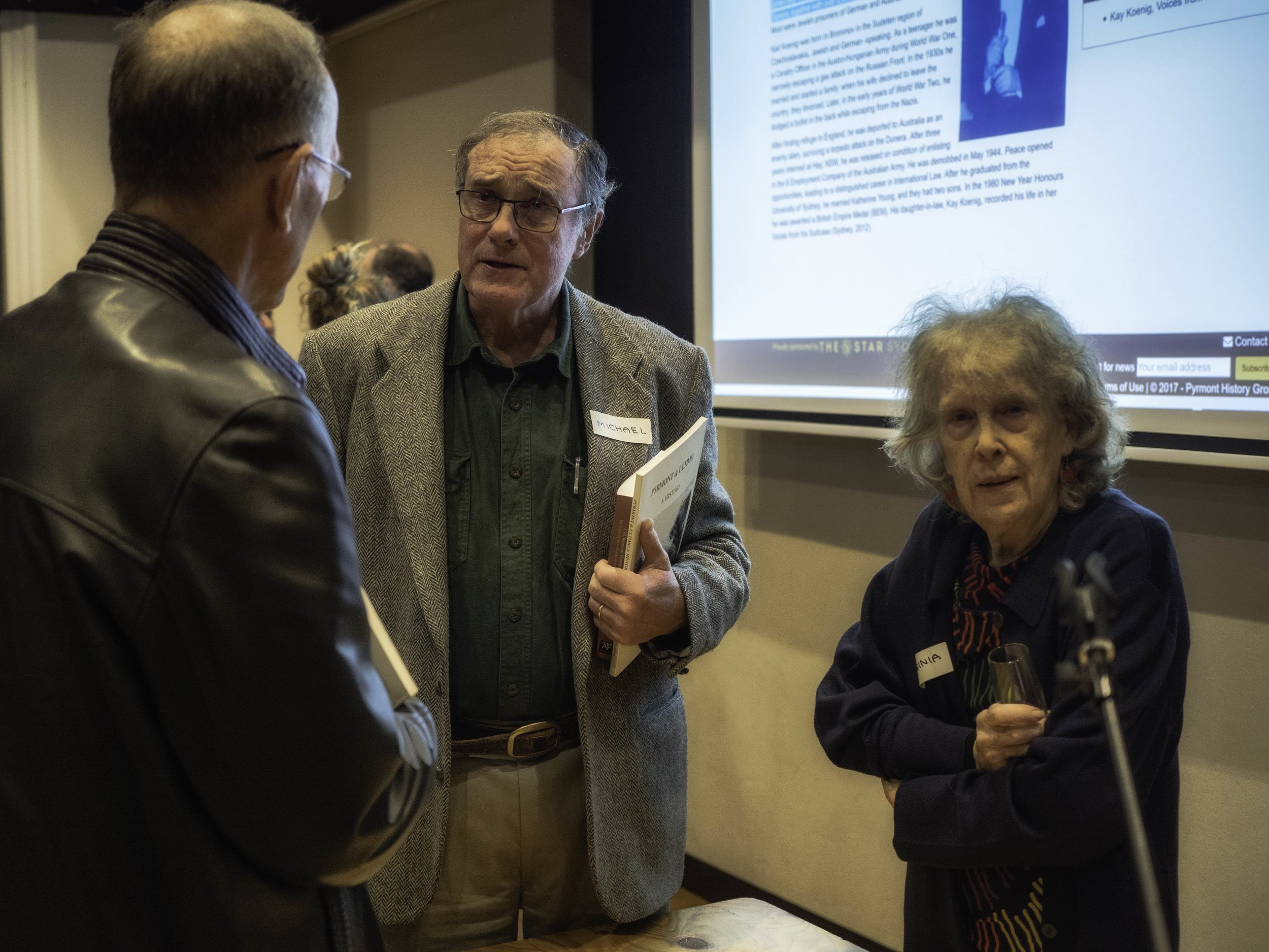 Ross Hindmarsh with Michael Matthews and Virginia Spate at the website launch, 2017