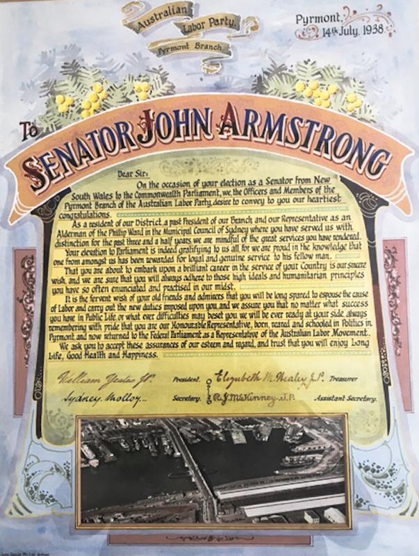ALP certificate to Senator John Armstong 1938