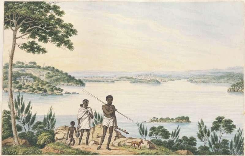 Distant View of Sydney Harbour, Joseph Lycett, 1817 NLA
