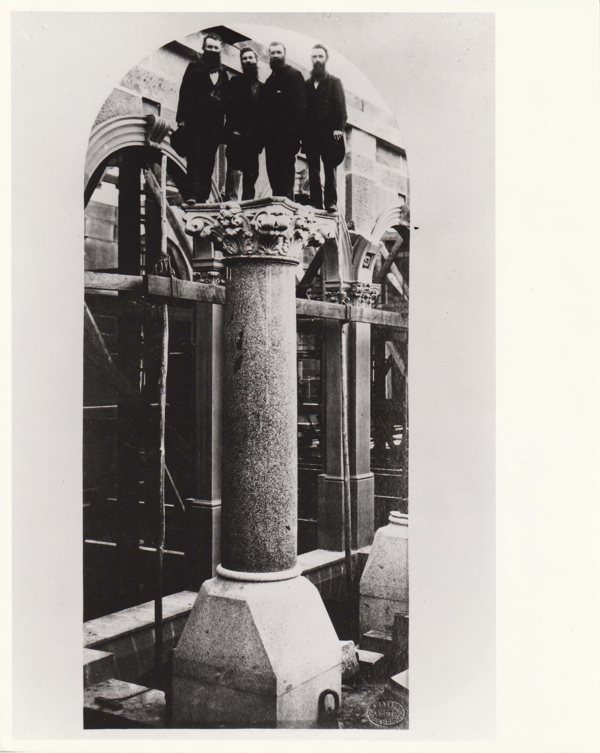 Thomas, William, Alexander and Andrew McCredie atop a GPO pillar
