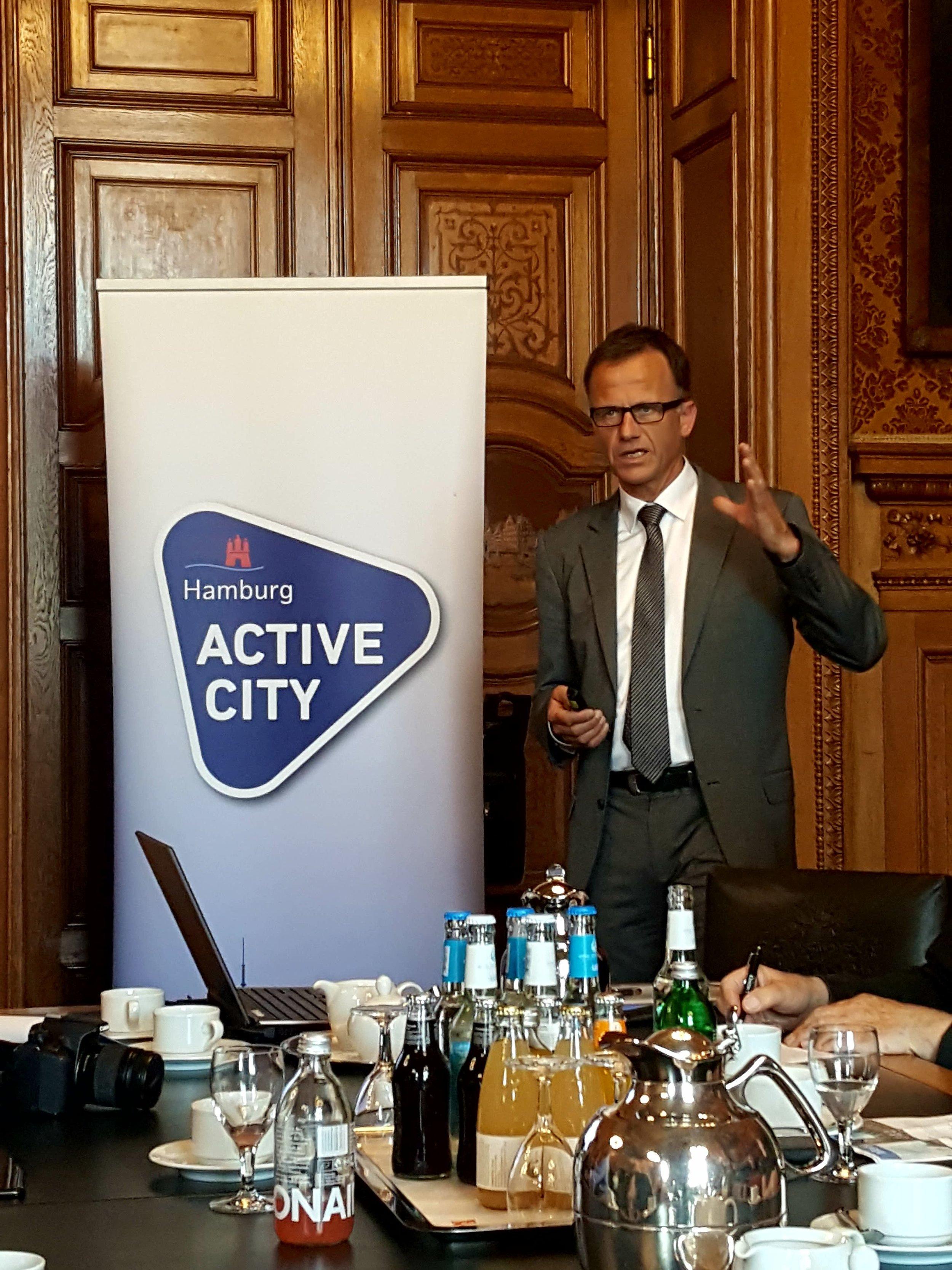 Christoph Holstein og Hamburg forsøger med Active City Masterplanen at vende et kuldsejlet OL-projekt til et positivt udviklingsredskab for idrætten i byen.  Foto: Henrik H. Brandt