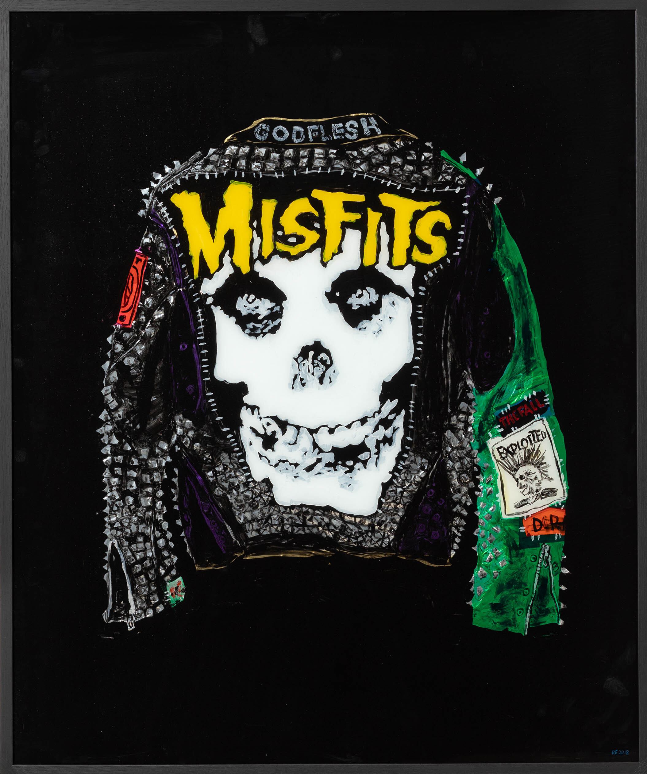Misfits- Jacket with Green Sleave, 2018, Acrylic and tinsel foil on glass, 120 x 100 cm.jpg