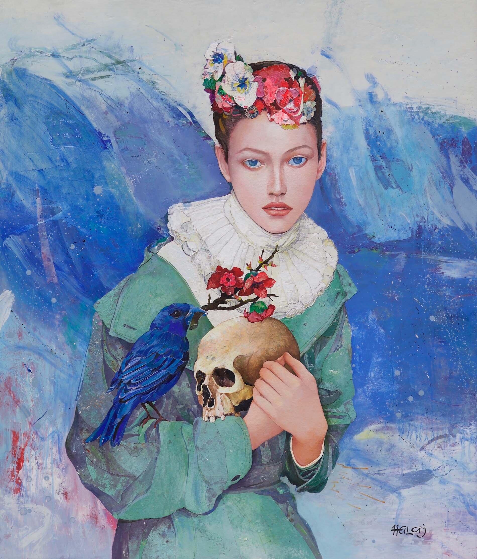 Minas Halaj %22 Blue Bird %22 2017, Oil, wax, textile, mixed media on panel, 54x46 in. (137.16x116.84 cm.).jpg