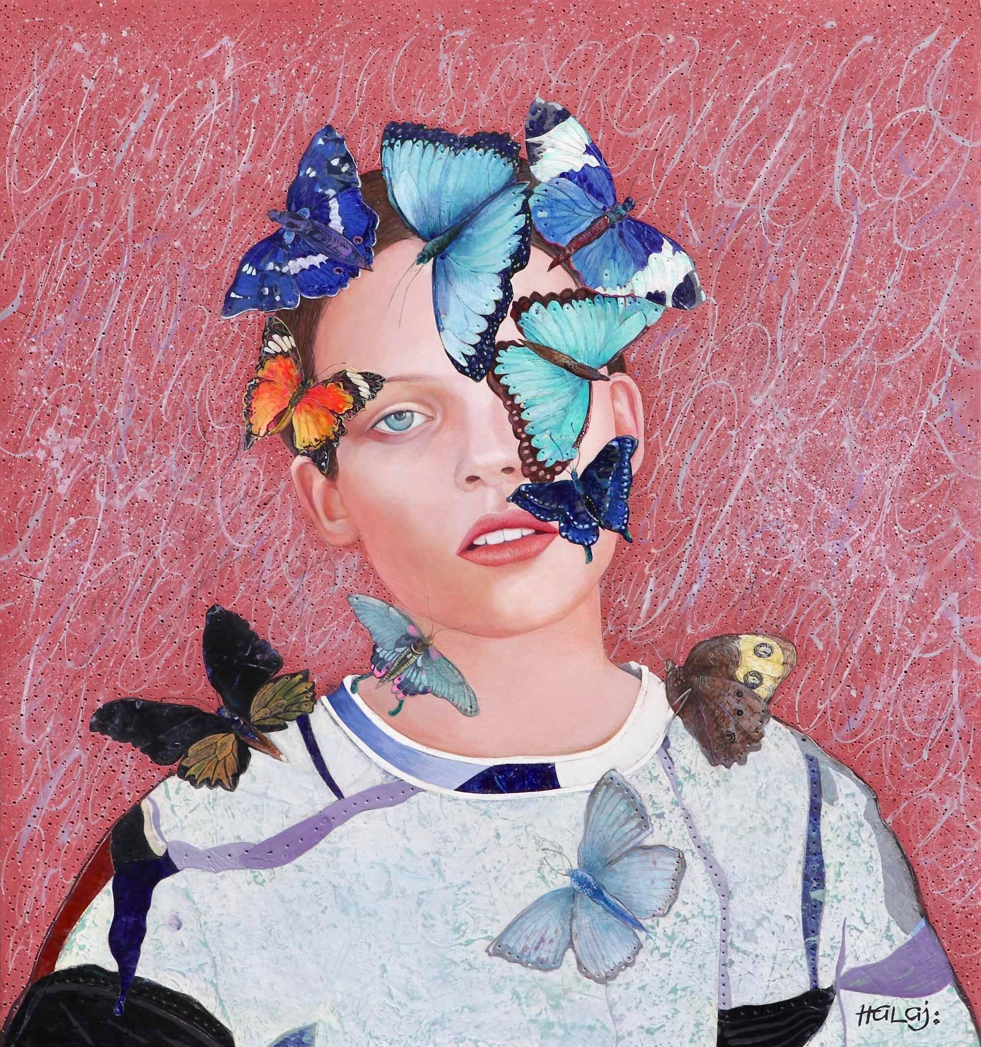"Minas Halaj  "" Butterfly # 4 "" 2019, Oil, Mixed Media On Panel, 30x28 inches, (76.2x 71.12 cm.).jpg"