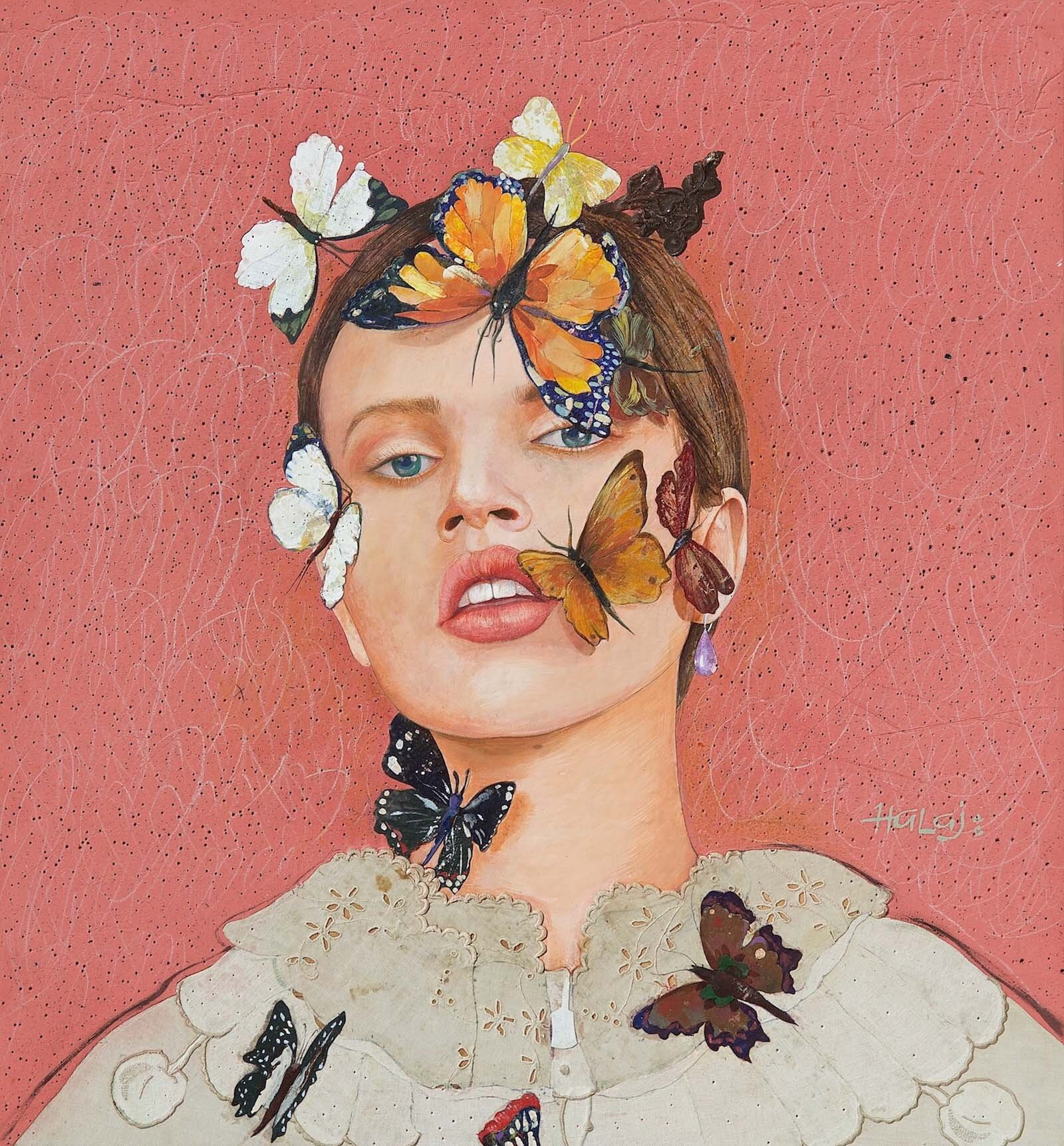 Minas Halaj %22 Butterfly #1 %22 2018, Oil, Mixed Media On Panel, 28x26 inches, (71.12 x 66.04 cm. ).jpg