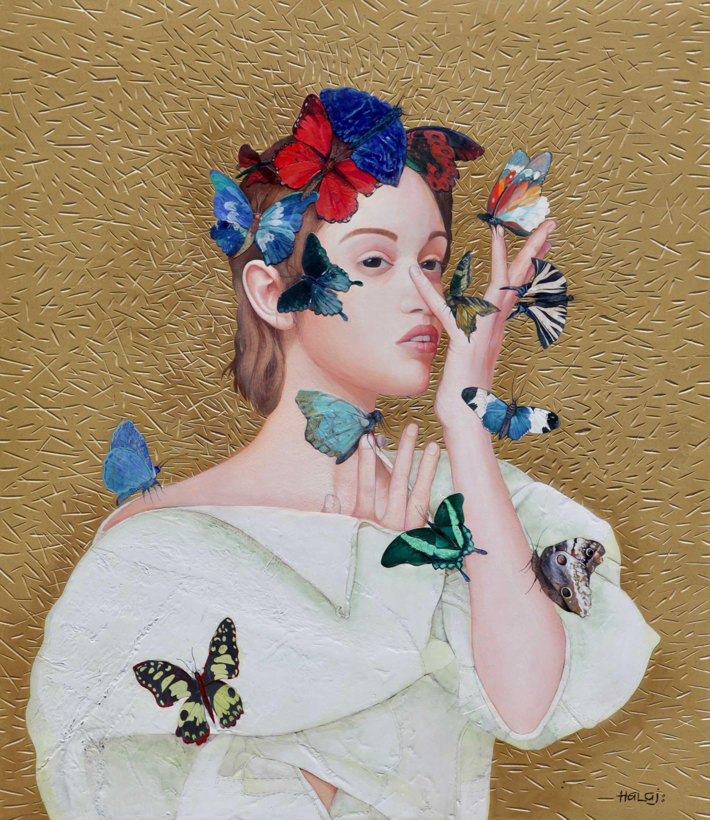 "Minas Halaj "" Butterfly # 6 "" 2019, Oil mixed media on panel, 46x40 inches (116.84x101.6 cm.).jpg"