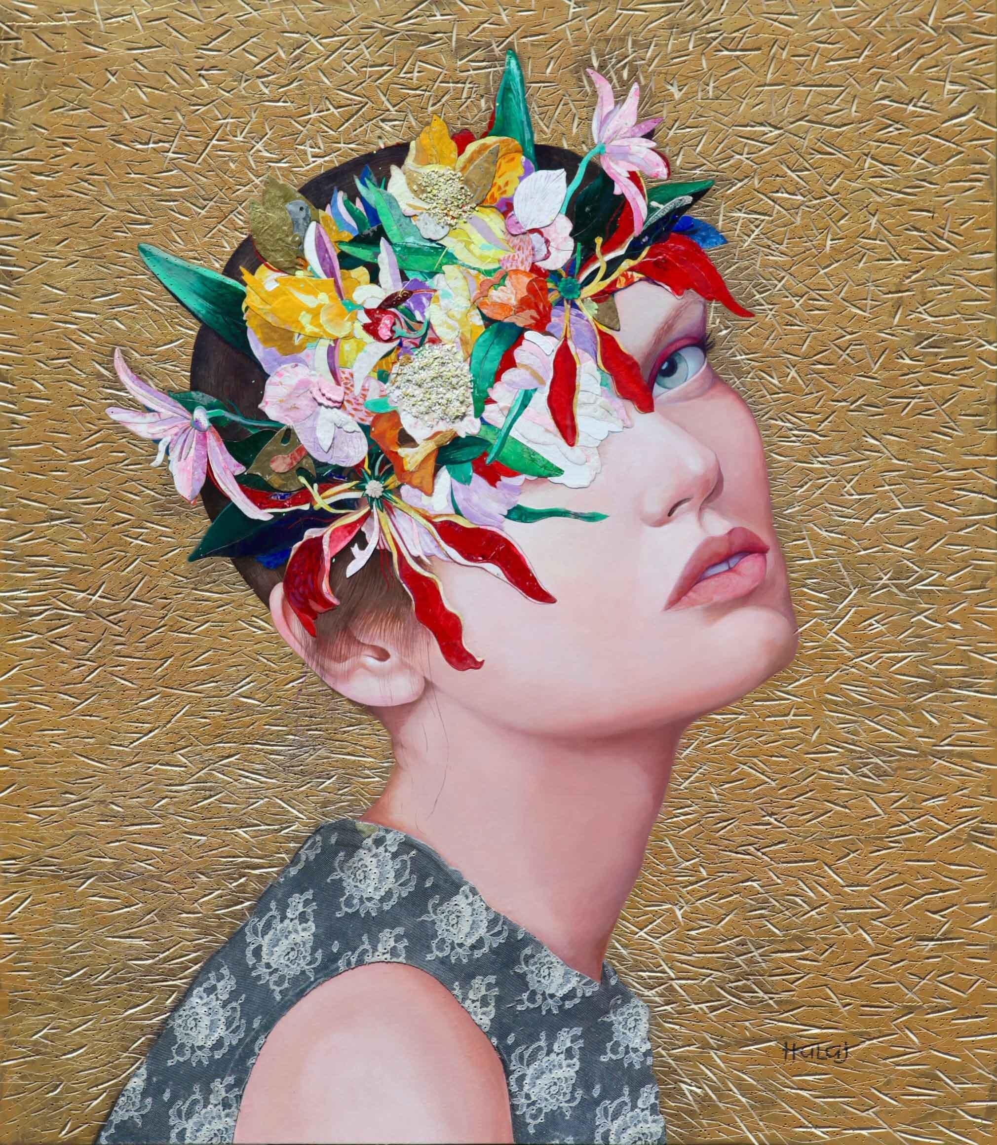 "Minas Halaj "" Floral Mind # 52 "" 2019, oil , mixed media on panel, 46x40 inches ( 116.84x101.6 cm.).jpg"