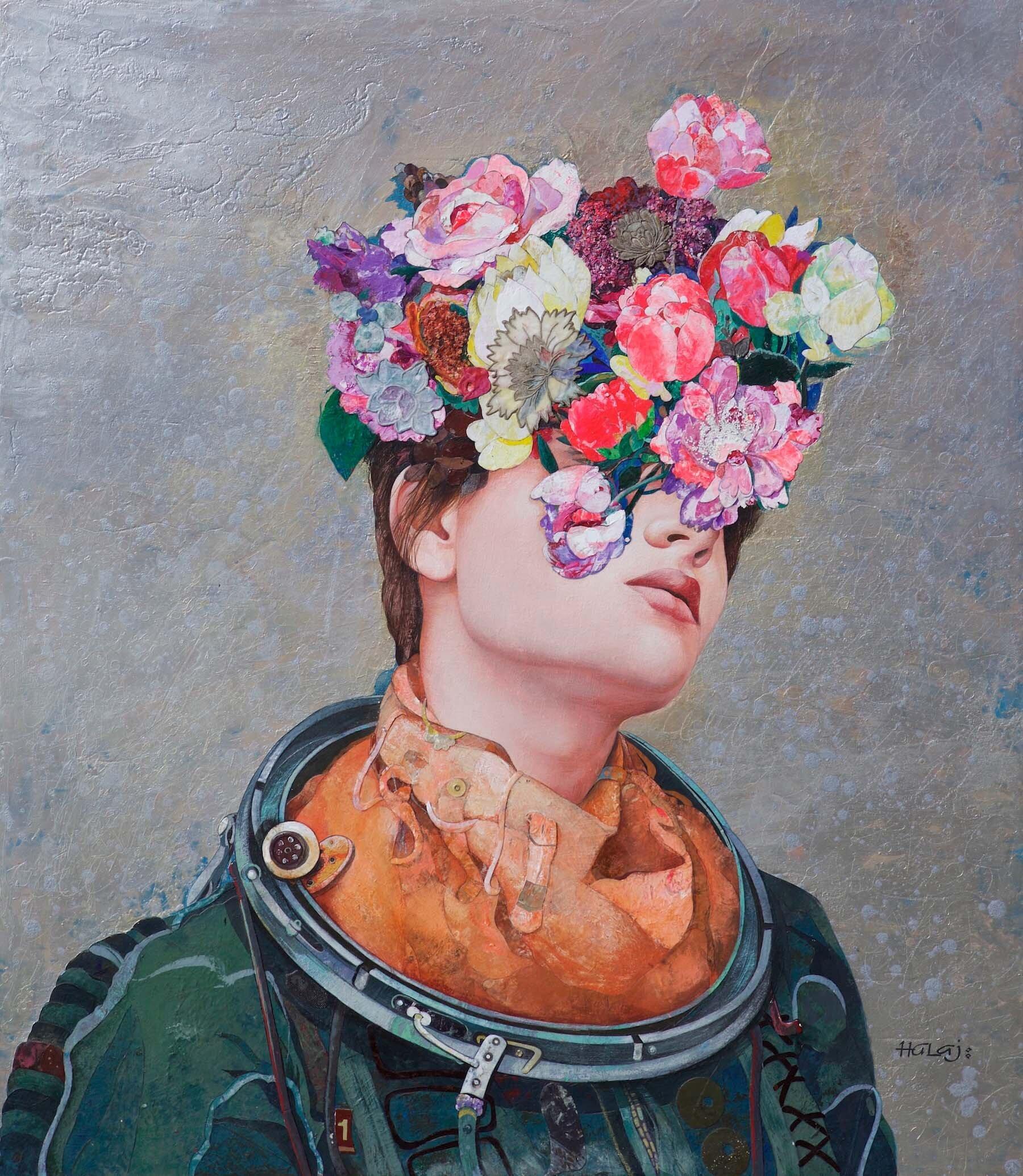 Minas Halaj %22 Floral Mind # 40 %22 2017, Oil, wax, textile, mixed media on panel, 42x48 in. (106.68x121.92 cm.).jpg