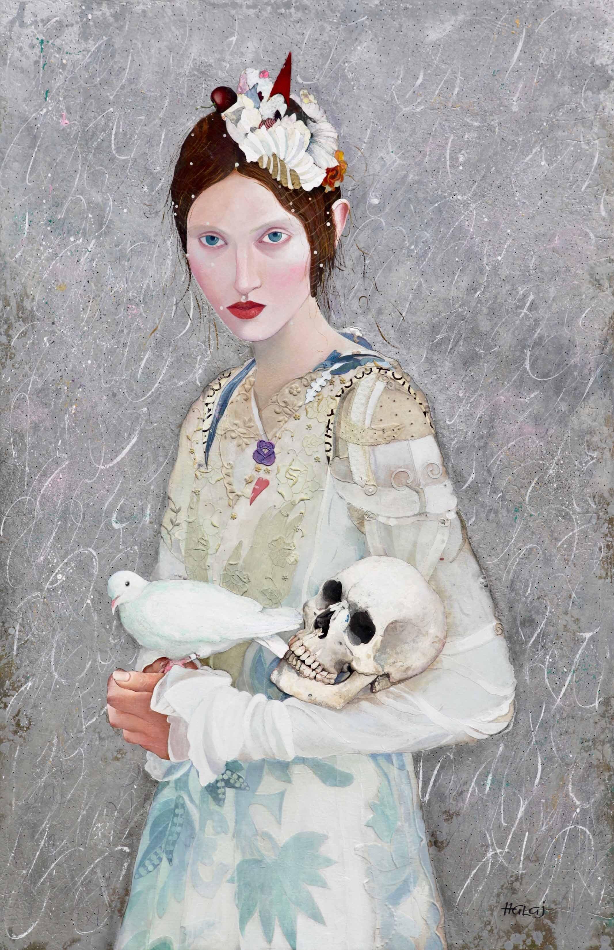 Minas Halaj %22 Girl With A Bird %22 2019, Oil, wax, textile, mixed media on panel, 58x38 in. (147.32x96.52 cm.).jpg