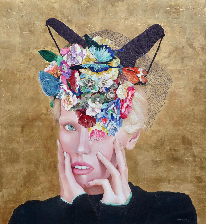Minas Halaj %22 Floral Mind # 55%22 2019, Oil, wax, gold, textile, mixed media on panel, 52x48 in. (132.08x121.92 cm.).jpg