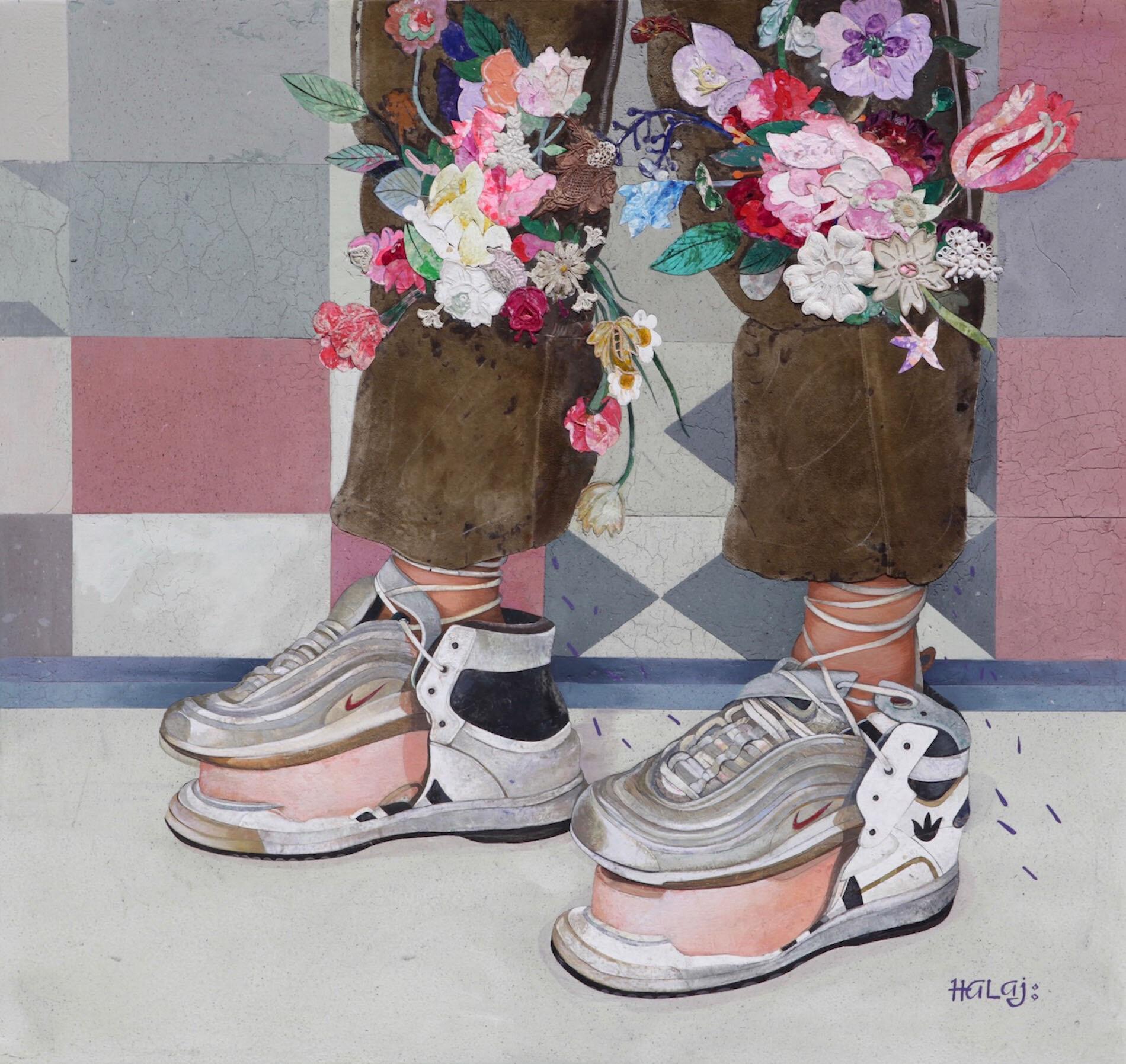 Minas Halaj %22 Nikes On My Feet %22 2018, Oil, wax, textile, mixed media on panel, 34x36 in. (86.36x91.44 cm.).jpg
