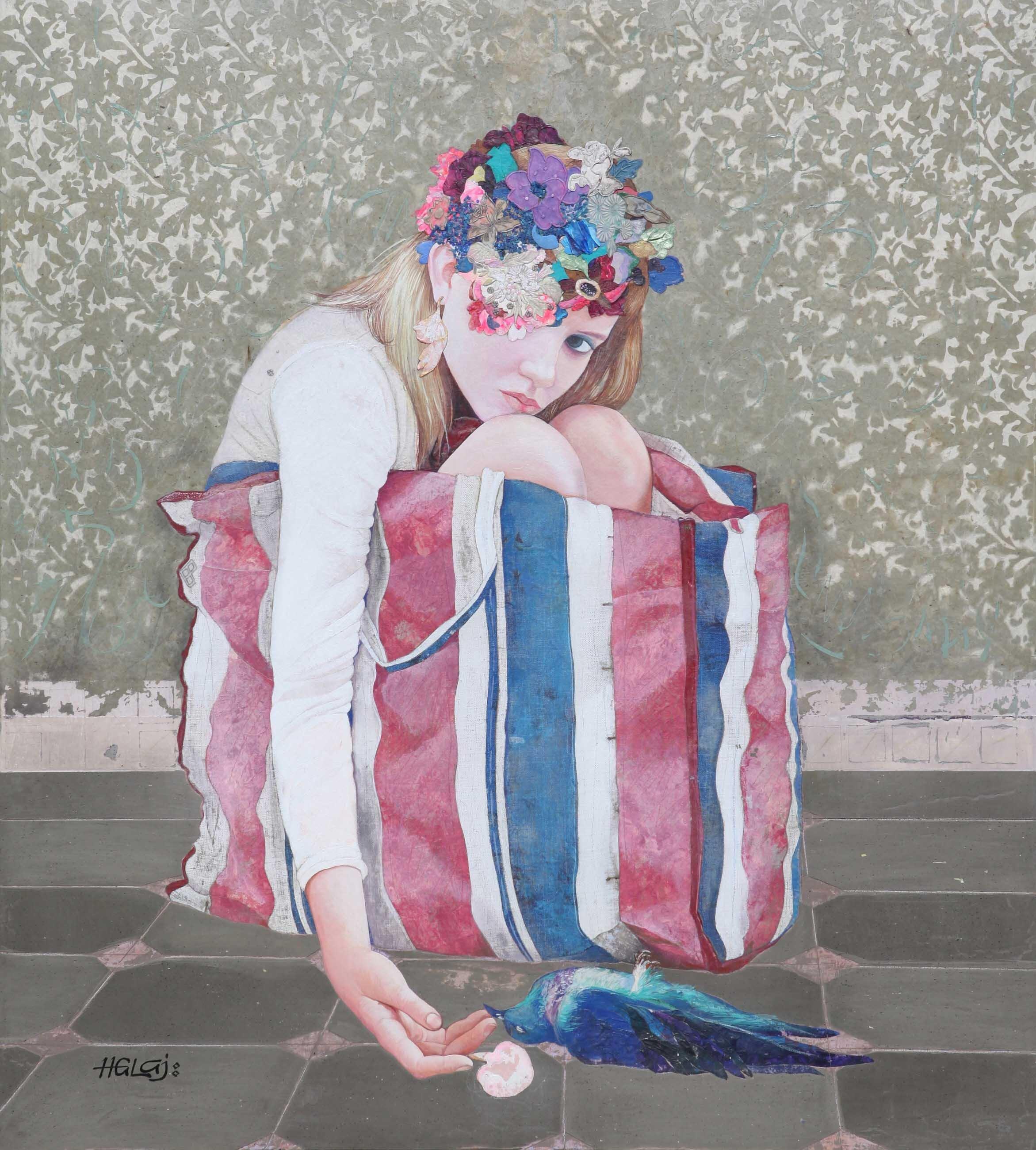 "Minas Halaj "" Floral Mind # 51 "" 2018, oil, textile, wax, mixed media on panel, 40x36 inches ( 101.6x91.44 ).jpg"