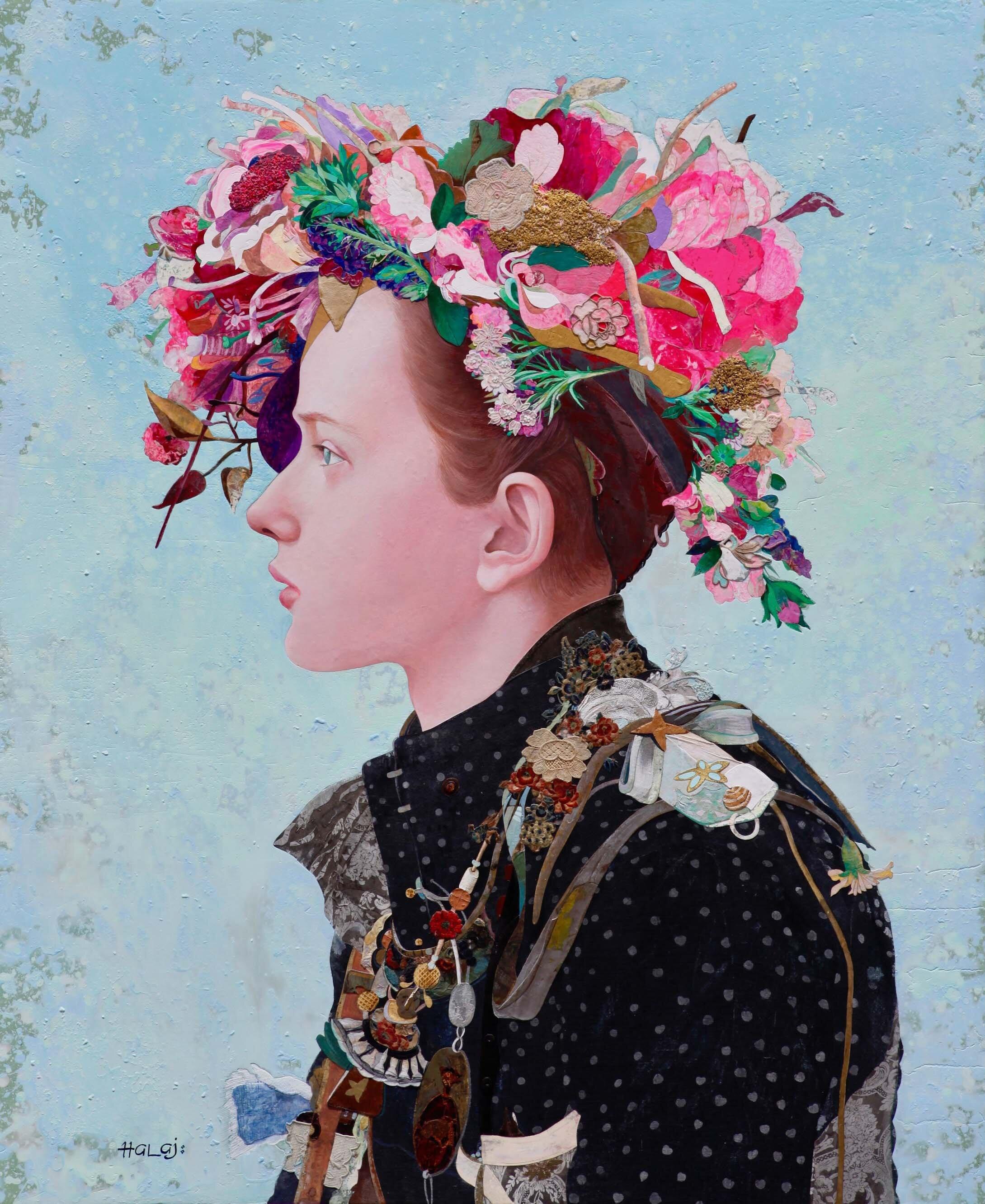 "Minas Halaj "" Floral Mind # 53 "" 2019, Oil Mixed Media On Panel, 56x46 inches ( 142.24x 116.84 cm.).jpg"