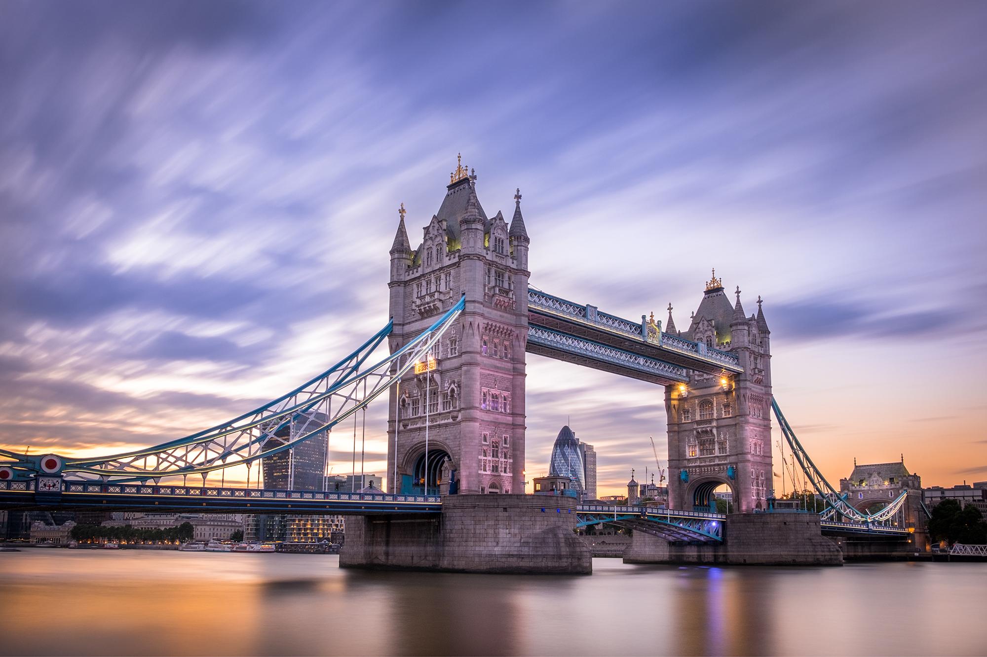 A long exposure photo of Tower Bridge at sunset taken by Trevor Sherwin