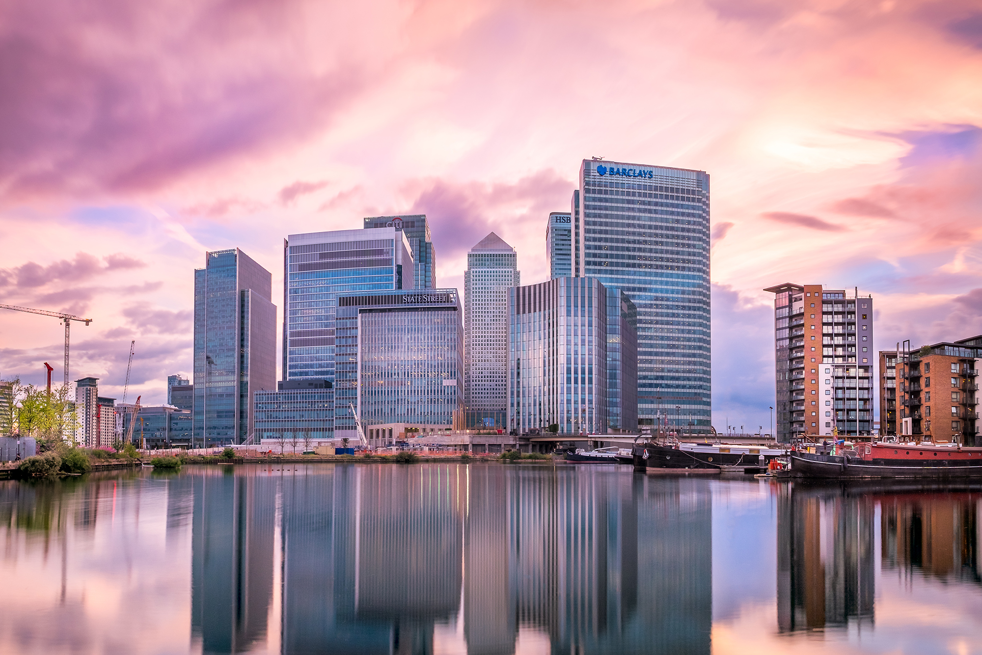 A panoramic photo of Canary Wharf at Sunset taken by Trevor Sherwin