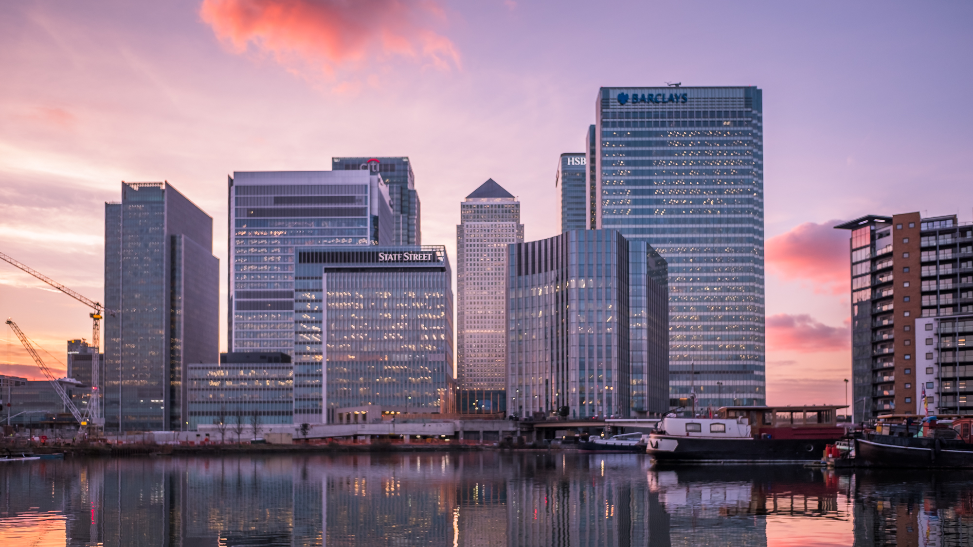 Retouched photo of Canary Wharf taken during a time-lapse by Trevor Sherwin