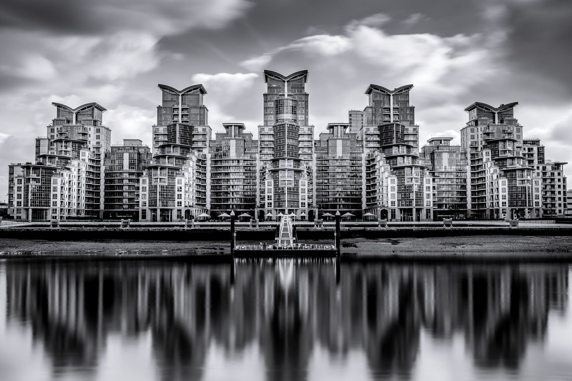 Photo of St George Wharf in Black and White taken by Trevor Sherwin